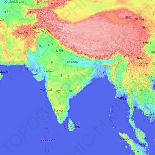 Mapa topográfico India, mapa de relieve, mapa de altitud
